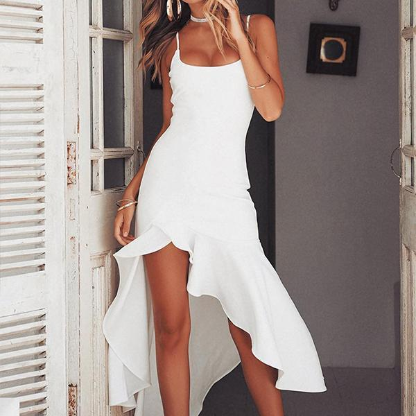Spaghetti Strap  Curved Hem  Plain Bodycon Dresses
