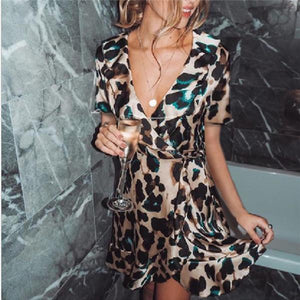 Sexy Deep V Neck Leopard Print Mini Dresses