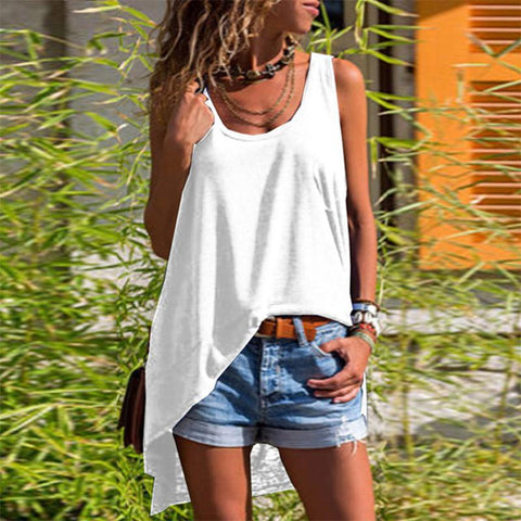Casual Loose Sleeveless Pure Colour Vest