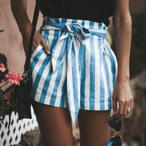 Casual Striped Belted Shorts Pants