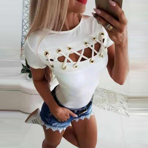Round Neck Short Sleeve Hollow Out Lace Up T-Shirts