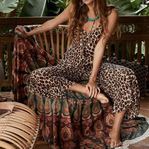 Fashion Leopard Print Shoulder Straps Loose Jumpsuits