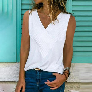 Casual V Neck Sleeveless Pure Colour Vest