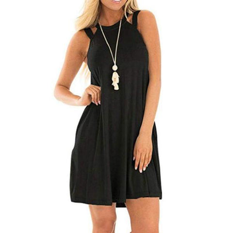 Round Neck  Cutout  Plain  Sleeveless Casual Dresses