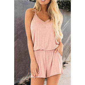 Spaghetti Strap Loose Fitting Plain  Sleeveless Playsuits