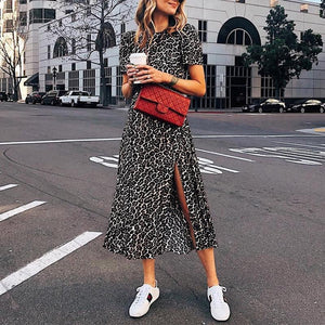 Casual Short Sleeve Leopard Round Neck Slit Dress