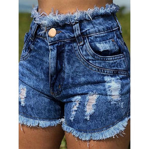 High Waist Broken Holes Chic Denim Shorts