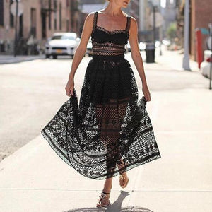 Summer New Sexy Lace Openwork Strap Dress