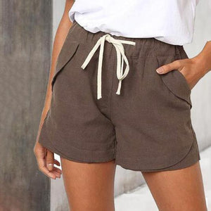 Drawstring Elastic Waist Casual Solid Color Beach Shorts