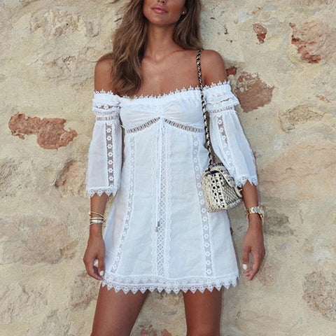 Women Fashion Off Shoulder Three-Quarter Sleeve Lace Dress