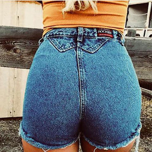 Casual Pure Color Denim Shorts