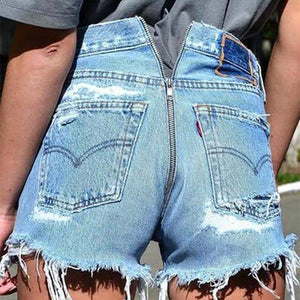 Pure Color Broken Hole Back Zipper Cowboy Shorts