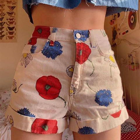 Fashion Printed Middle Waist Casual Shorts