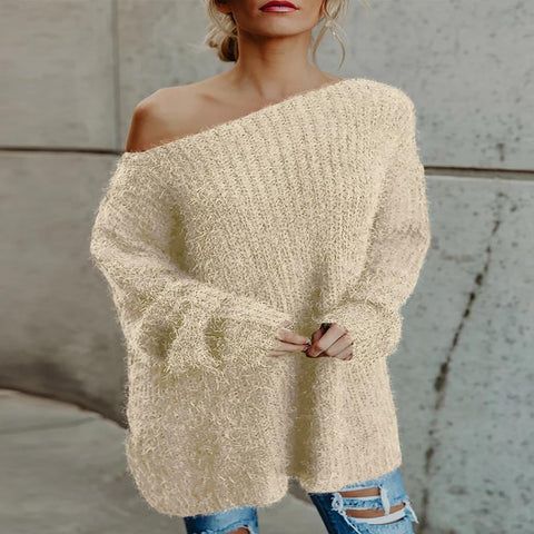Casual Plush Long-Sleeved Shoulder-Shoulder Solid Color Sweater