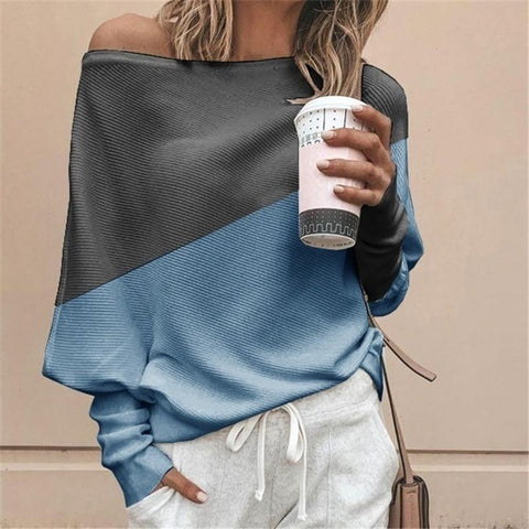 Casual Off-The-Shoulder Loose Stitching Contrast Color Long-Sleeved T-Shirt