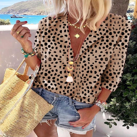 Leopard Suit Collar Long Sleeve Shirt