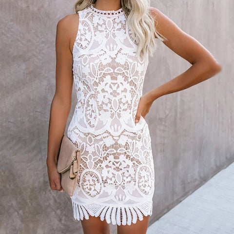 Women's Fashion Pure Color Hollow Out Sleeveless Lace Dress