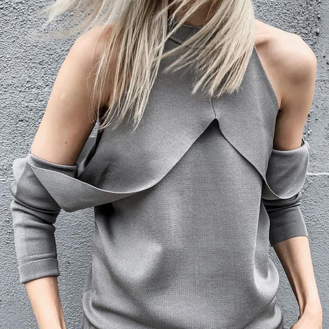 Fashion Strapless Cold Shoulder Long Sleeve Slim Sweaters