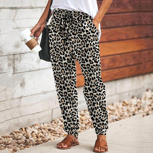 Women's Casual Drawstring Leopard Print Loose Pants