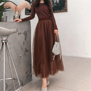 Fashion Slim Long Sleeve Grenadine Splicing Knitted Maxi Dress