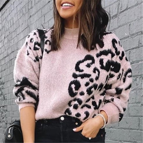Ladies Fashion Casual Leopard Sweater