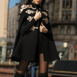 British Wind Cloak Coat Black