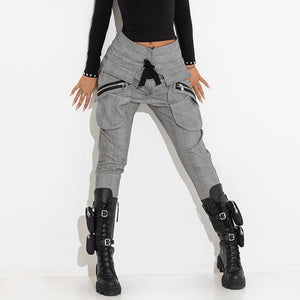 Classic Fashion Zipper Patch Pocket Plaid Pants