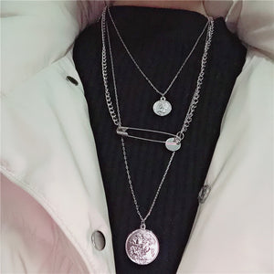 Fashion pin sweater chain necklace