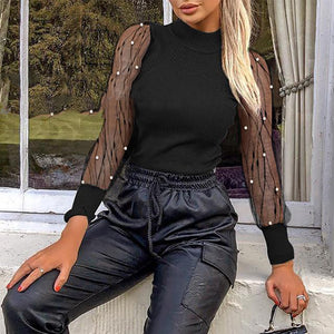 Fashion Mesh Stitching Long-sleeved Top