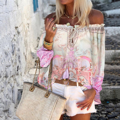 Fashion printed one-shoulder drawstring long-sleeved top