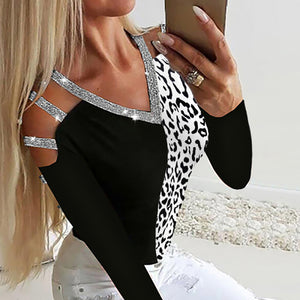 Fashion sequined V-neck leopard colorblock slim hollow T-shirt