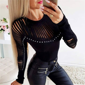 Sexy openwork round neck long sleeve t-shirt