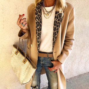 Women's fashion leopard stitching long sleeve coat