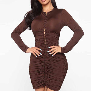 Womens Sexy Round Neck Lace Up Bodycon Dress