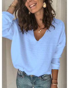 Solid Color Casual V-neck Knit Top Blouse