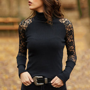Sexy Lace Splicing Pure Colour High Collar Top