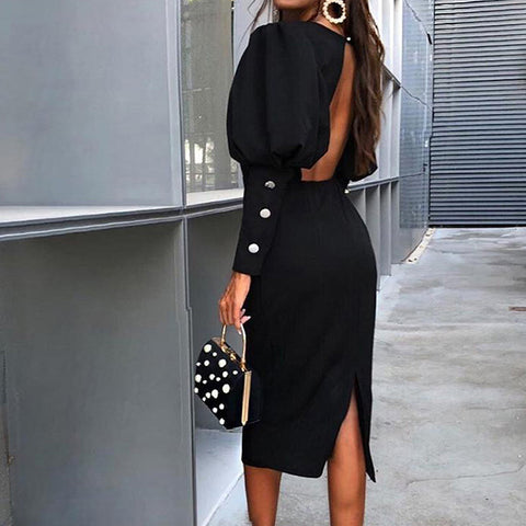Finalpink European and American backless slim bag hip back slit long sleeve dress