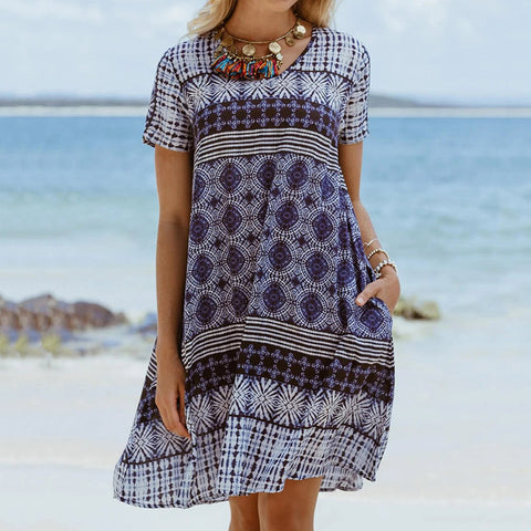 Casual Short Sleeve Printed Dresses