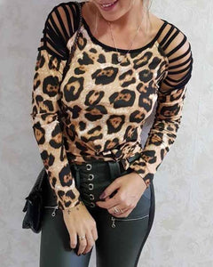 Casual Round Neck Hollow Out Off-Shoulder Long Sleeve Leopard Print T-Shirt