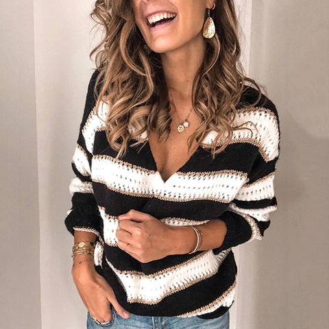 Basic Deep V-neck Striped Sweater