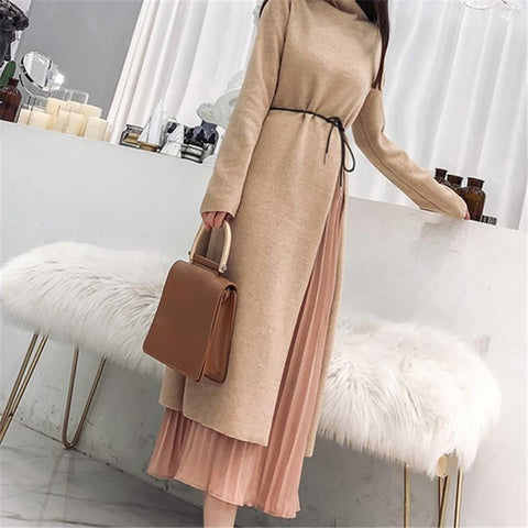 Fashion Knitted Casual Dress And Chiffon Half Length Skirt Suit