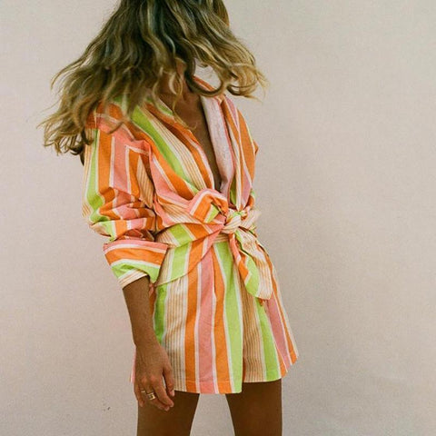Rainbow Striped Shirt Shorts Set