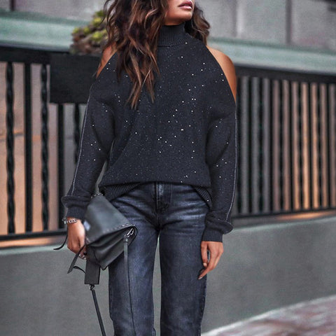 Fashion lady off-the-shoulder high neck knit sweater