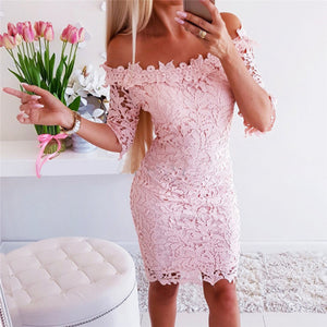 Ladies Sexy One Shoulder Lace Slim Short Sleeve Dress