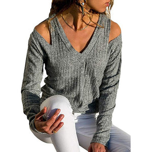 Sexy Dew V-Neck Slip Shoulder T-Shirts