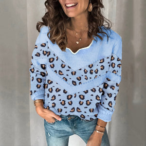 Women's Fashion Lace Collar Leopard Sweater