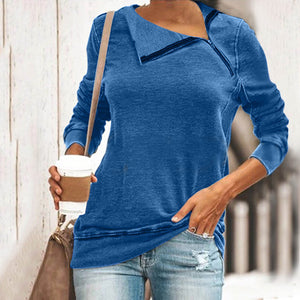 Daily Pure Color Long Sleeve Zipper T-Shirt