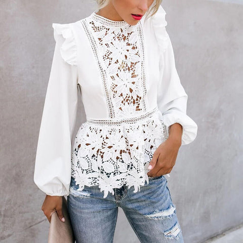 Lace stitching sexy fungus long-sleeved top
