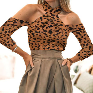 Women'S Sexy Leopard Printing Open Shoulder T-Shirt