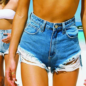 JOJORUBY Light High Waist Tassel Short Jeans